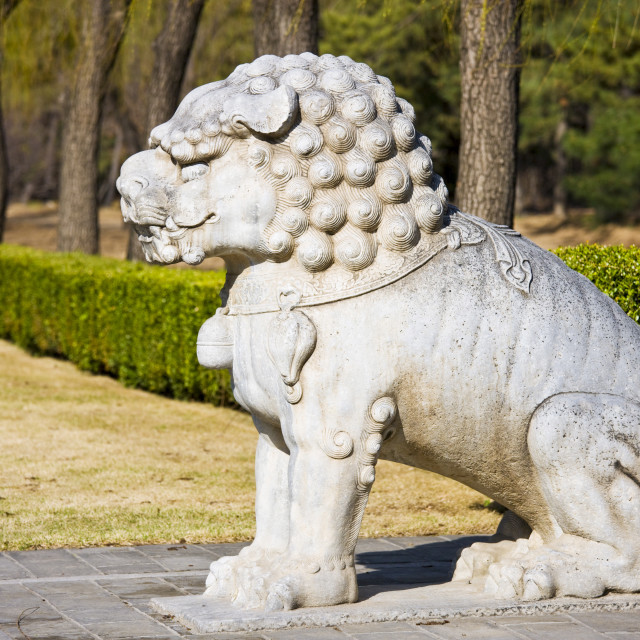 """Statue of a resting lion, Spirit Way, Ming Tombs, Beijing (Peking), China"" stock image"