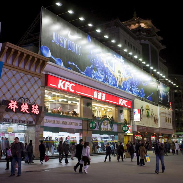 """Kentucky Fried Chicken fastfood restaurant on Wangfujing Street, Beijing, China"" stock image"