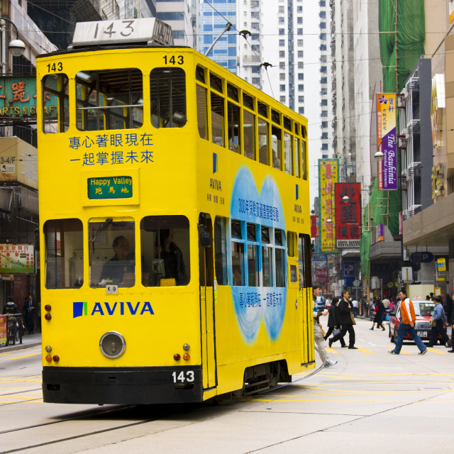 """Tram in traditional old Chinese district, Des Voeux Road, Sheung Wan, Hong..."" stock image"