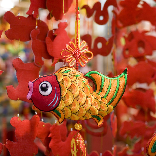 """""""Hanging mobile ornaments on sale in traditional Graham Street market near..."""" stock image"""