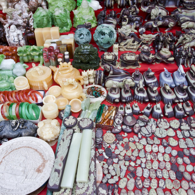 """Souvenirs on sale at a stall at Bao Ding in Dazu County, near Chongqing, China"" stock image"