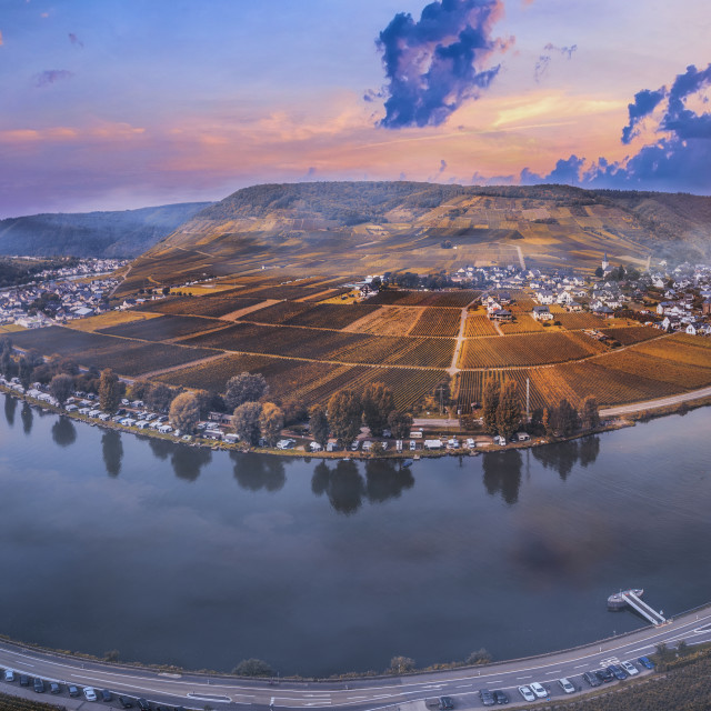 """""""Panoramic view of the Moselle"""" stock image"""