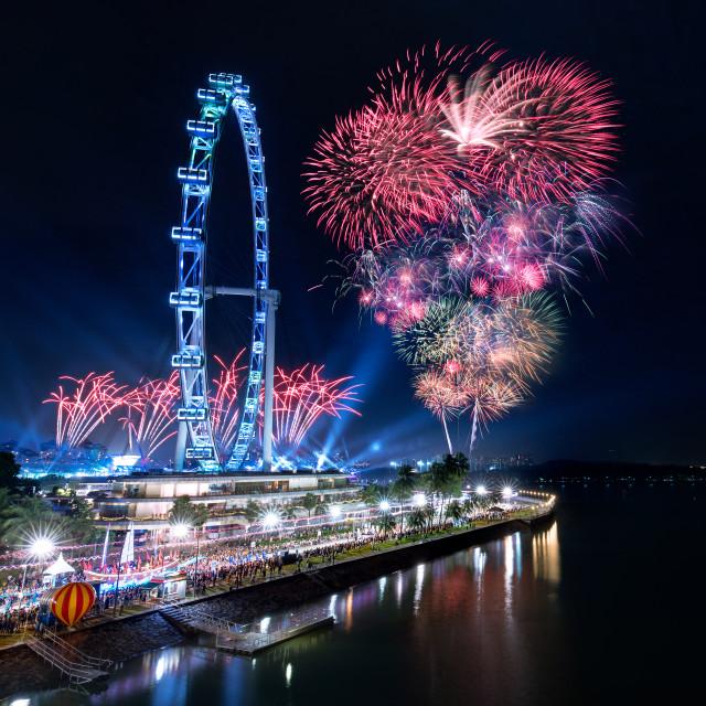 """""""Marina Bay Singapore Fireworks"""" stock image"""
