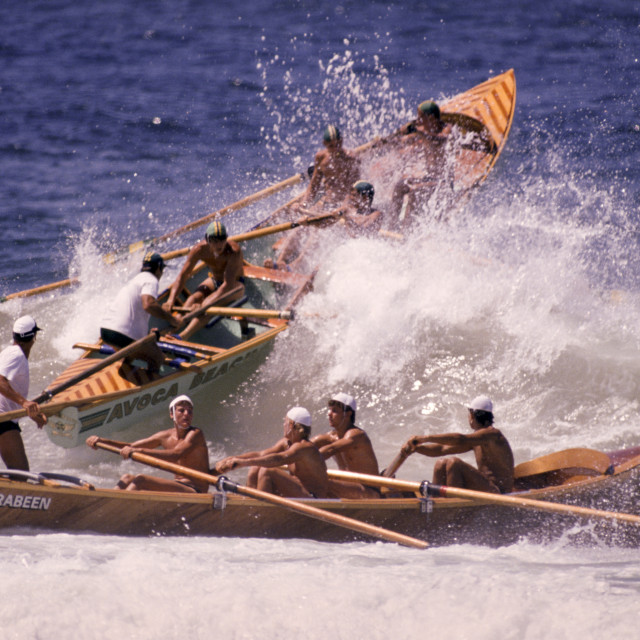 """""""Boats at Bicentennial Surf Carnival in Sydney, Australia"""" stock image"""