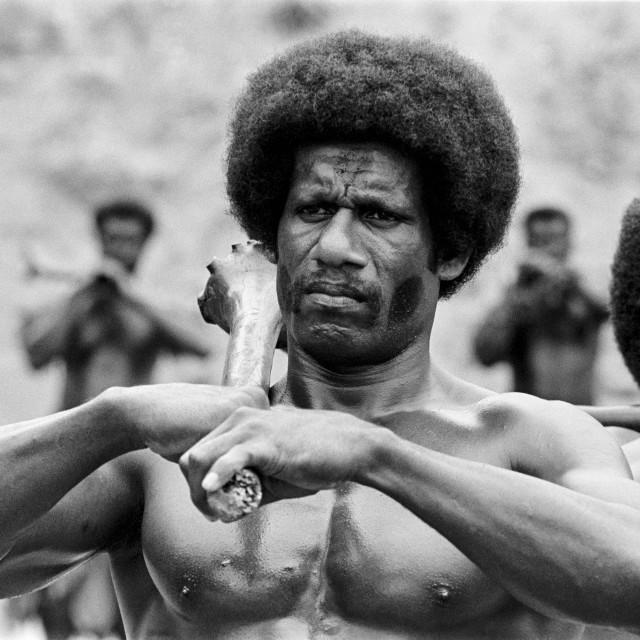 """Fijian man taking part in traditional native kava ceremony at tribal..."" stock image"