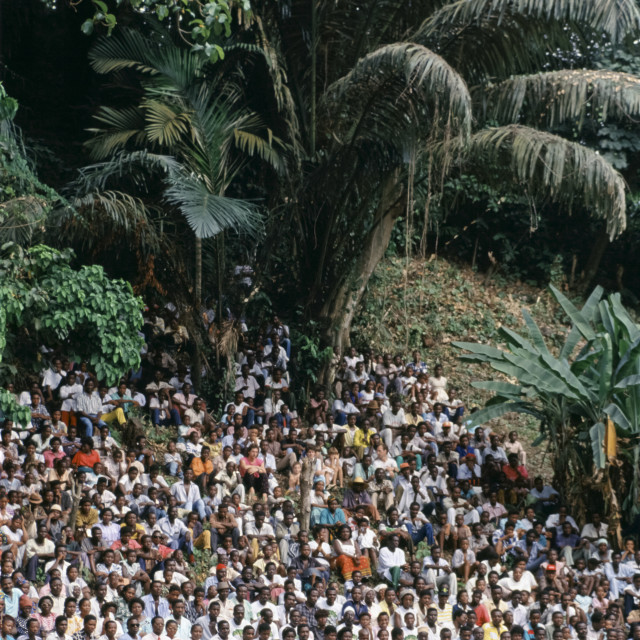 """""""Crowd of people gather for festival in Cameroon, Africa"""" stock image"""