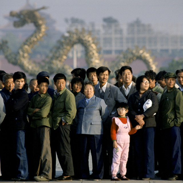 """""""Chinese people in Tiananmen Square in the Forbidden City in Peking, now..."""" stock image"""