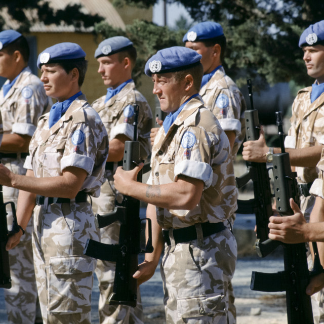 """""""British forces part of United Nations peacekeeping troops at their UN base in..."""" stock image"""