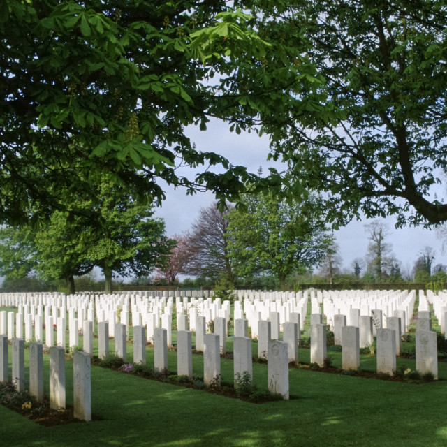 """Commonwealth war graves from World War II at cemetery in Normandy, France"" stock image"