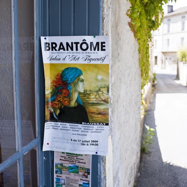 """Advertising poster in Bourdeilles popular tourist destination near Brantome..."" stock image"