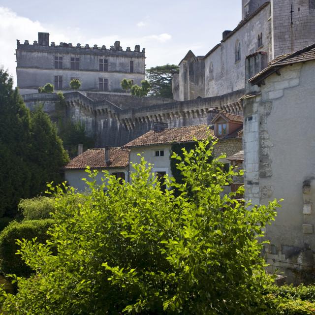 """Bourdeilles popular as a tourist destination near Brantome in Northern..."" stock image"