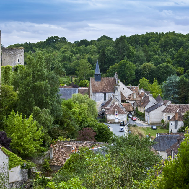 """""""Traditional French village of Angles Sur L'Anglin, Vienne, near Poitiers, France"""" stock image"""
