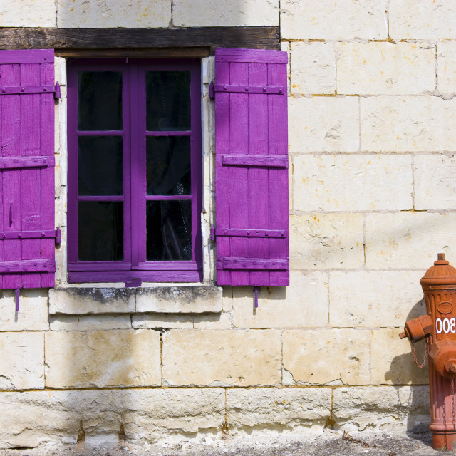 """""""Brightly painted window and traditional water hydrant at Parnay near Saumur..."""" stock image"""