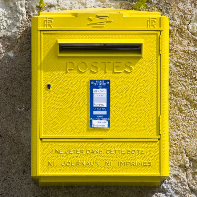 """""""Traditional letter box at Parnay in the Loire Valley, France"""" stock image"""