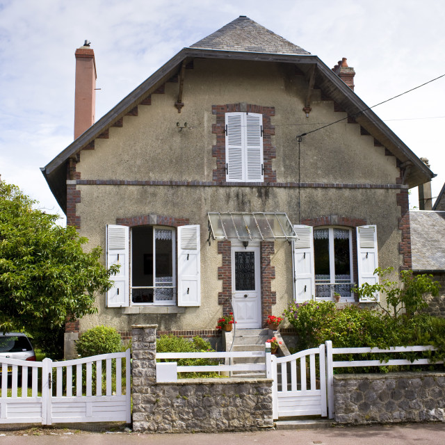 """""""Typical French house in Montmartin-Sur-Mer, Normandy, France"""" stock image"""