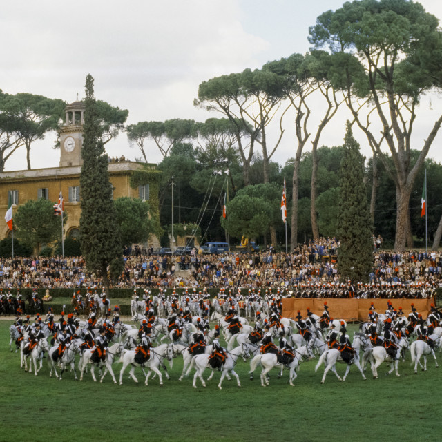 """""""Military display of cavalry in Rome, Italy"""" stock image"""