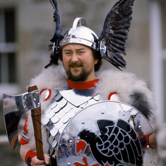 """""""Shetland Islands man wearing viking costume for cultural display in the..."""" stock image"""