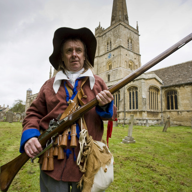 """""""Historic re-enactment of the Levellers, of the New Model Army in Oliver..."""" stock image"""