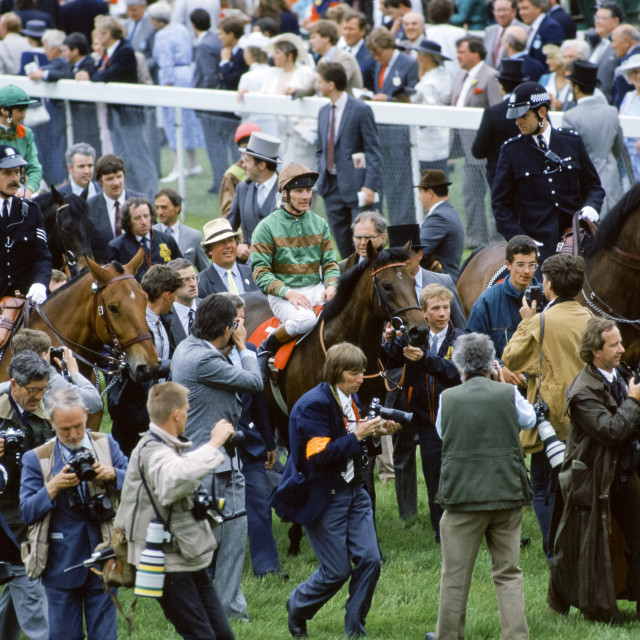 """""""Press photographers and reporters surround the winning horse and jockey at..."""" stock image"""