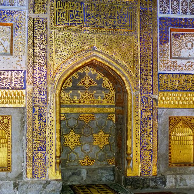 """Inside Tilla Kari, Tilya-Kori, Madrasah in Registan Square, Samarkand,..."" stock image"