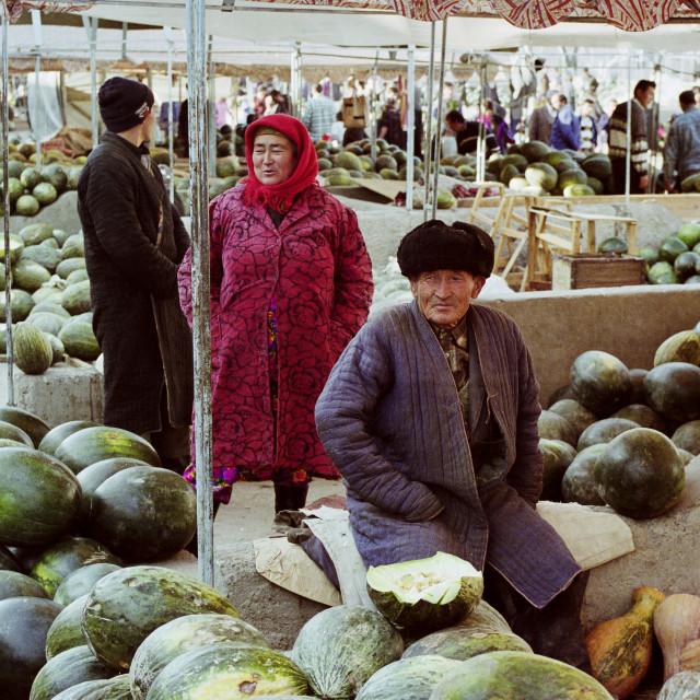 """Food market in Samarkand, Uzbekistan"" stock image"