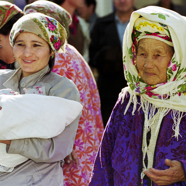 """Locals wearing traditional clothing in Samarkand, Uzbekistan"" stock image"