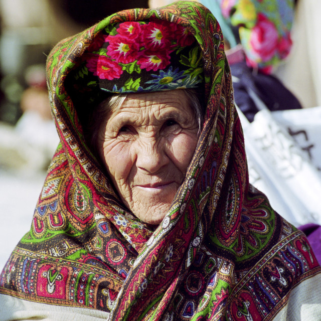 """Local woman wearing traditional clothing in Samarkand, Uzbekistan"" stock image"