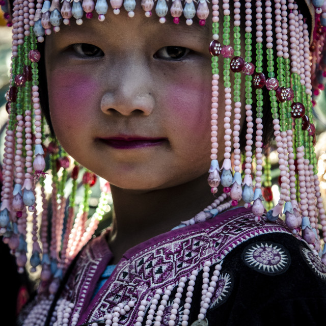 """""""A girl in traditional hilltribe costume, Wat Phra That Doi Suthep, Chiang..."""" stock image"""