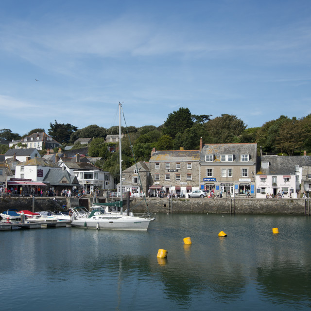 """""""A view of the quaint stone buildings around the harbour in Padstow, Cornwall,..."""" stock image"""