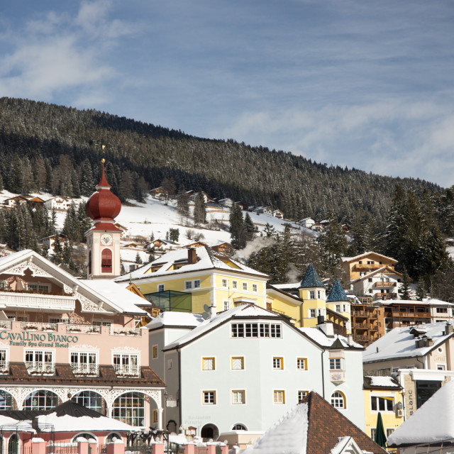 """""""The town of Ortisei in the Dolomites near the Alpe di Siusi ski resort, South..."""" stock image"""