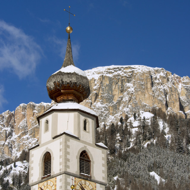 """""""A church belltower in Colfosco in Badia in the Dolomites in the South Tyrol,..."""" stock image"""