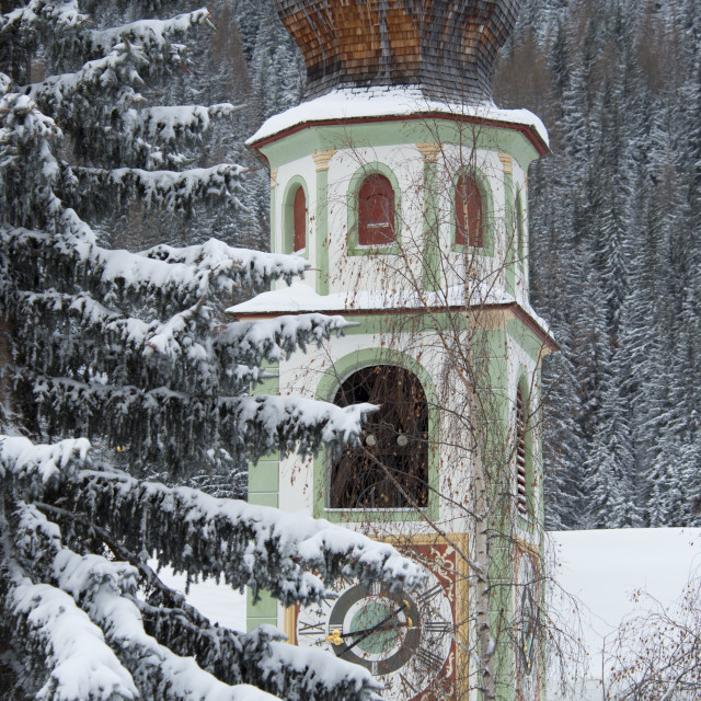"""""""The bell tower of the Church of San Casiano surrounded by snow covered trees,..."""" stock image"""