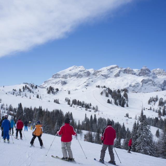 """A group of skiers at the Alta Badia ski resort near Corvara, Dolomites, South..."" stock image"