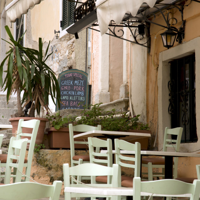 """A taverna in Corfu Town, Corfu, The Ionian Islands, Greece"" stock image"
