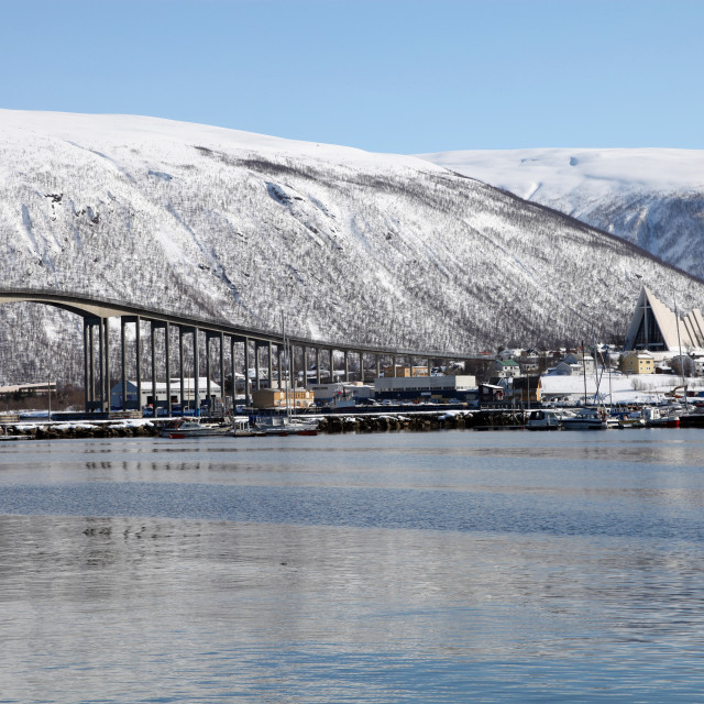 """Tromso bridge and the Cathedral of the Arctic in Tromsdalen, Troms, Norway,..."" stock image"