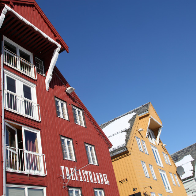 """Converted warehouses along harbour front, Tromso, Troms, Norway, Scandinavia,..."" stock image"