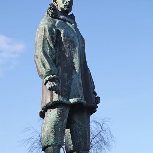 """Statue of Roald Amundsen, famous Norwegian explorer, in main square of..."" stock image"