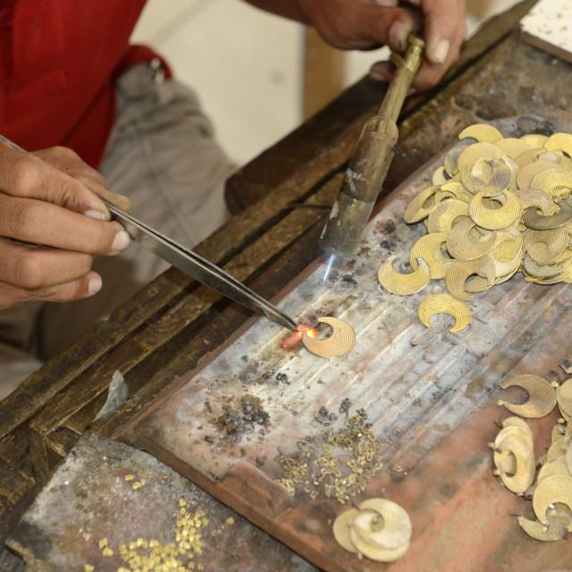 """Soldering gold jewellery, Mas, Bali, Indonesia, Southeast Asia, Asia"" stock image"