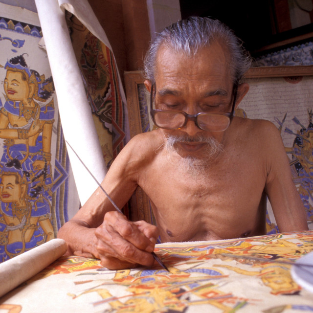 """""""Painter in the traditional style, Kamasan (Klungkung regency), Bali,..."""" stock image"""
