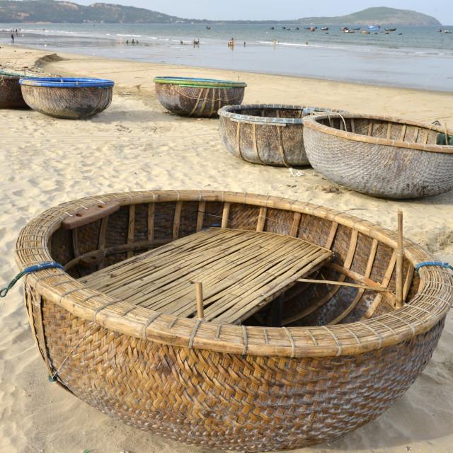 """Basket tug boat, Phan Thiet, Vietnam, Indochina, Southeast Asia, Asia"" stock image"