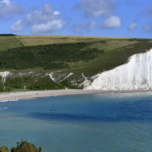 """Cuckmere Haven and the Seven Sisters chalk cliffs, from the South Downs Way,..."" stock image"