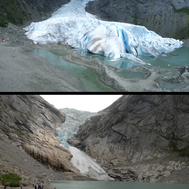 """Retreat of Briksdal Glacier (Briksdalsbreen), western Josterdalsbreen, Olden,..."" stock image"