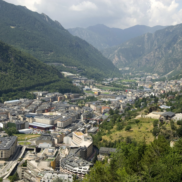 """Andorra la Vella, capital city of Andorra state, Andorra, Pyrenees, Europe"" stock image"