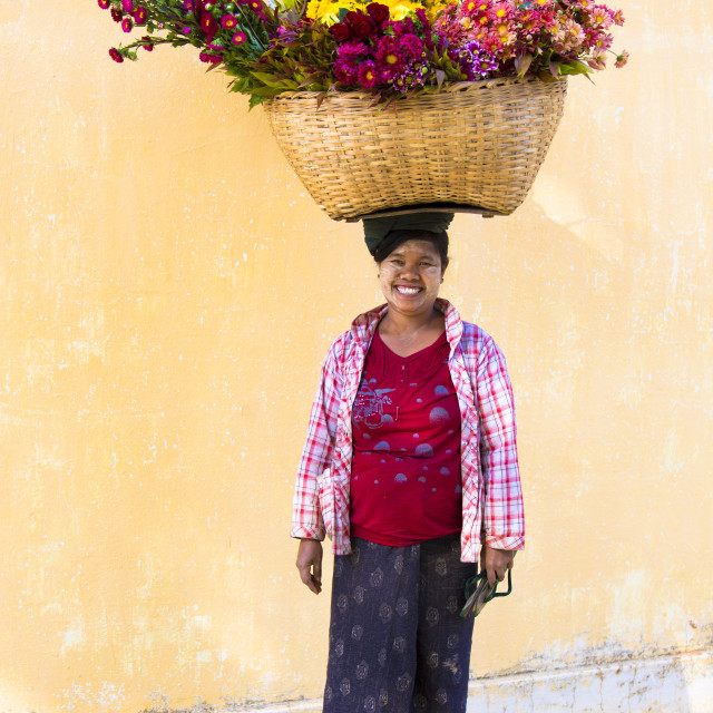 """Local woman with thanakha traditional face painting, carrying a large basket..."" stock image"