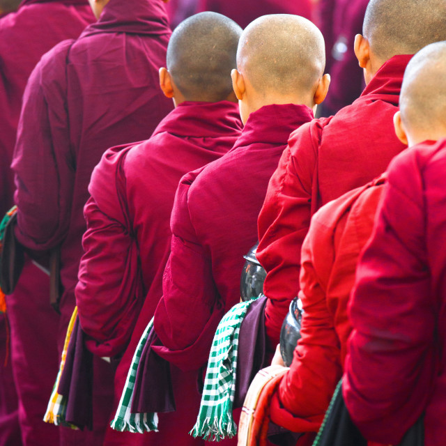 """Buddhist monks queueing for a meal at Mahagandayon Monastery, where some 2000..."" stock image"