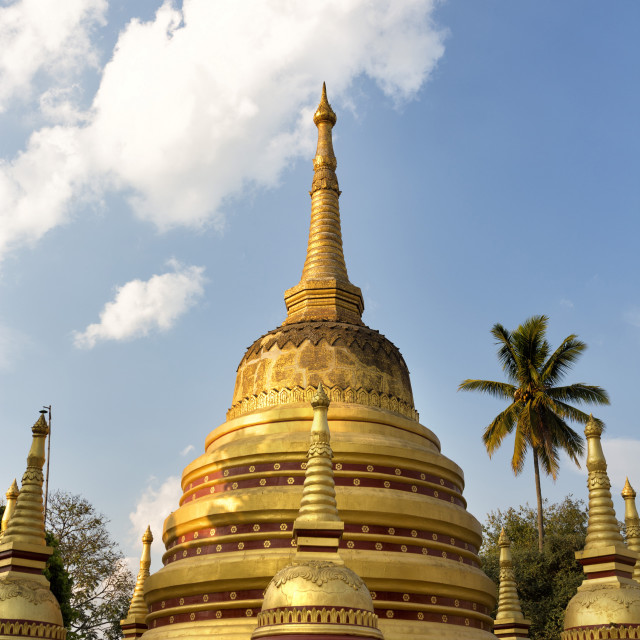 """The gilded stupas of Wat In, Kengtung (Kyaingtong), Shan State, Myanmar..."" stock image"
