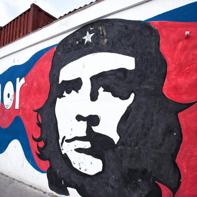 """Mural of revolutionary Che Guevara painted on a wall, Havana Centro, Cuba,..."" stock image"