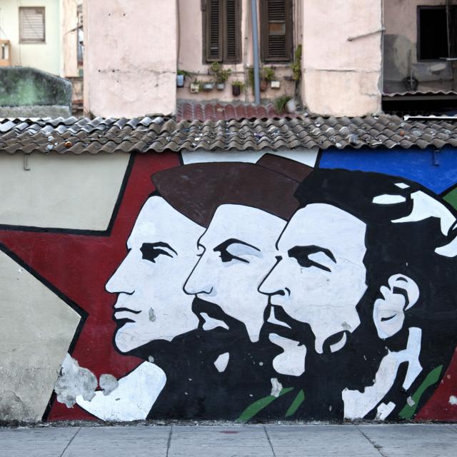 """Revolutionary mural painted on wall, Havana Centro, Havana, Cuba, West..."" stock image"
