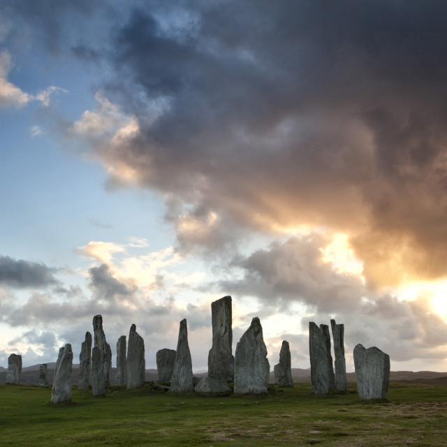 """""""Standing Stones of Callanish at sunset with dramatic sky in the background,..."""" stock image"""
