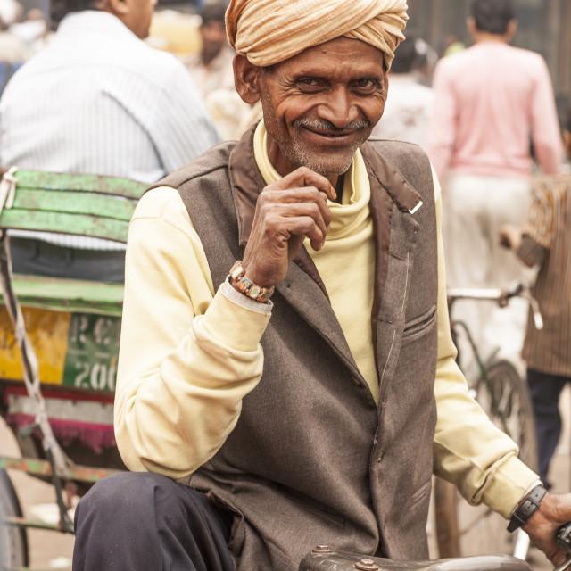"""Rickshaw driver, Delhi, India, Asia"" stock image"